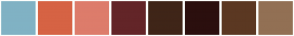 Color Scheme with #80B2C4 #D66344 #DD7C6B #632528 #3F2518 #2B0F0E #5B3822 #927054