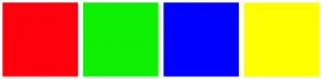 Color Scheme with #FF000D #0FF004 #0000FF #FFFF00