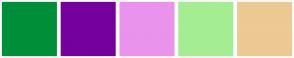 Color Scheme with #008F39 #75009C #E993ED #A5ED93 #EDC993