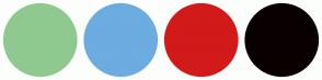 Color Scheme with #90C990 #6CACE0 #D21A1A #090000