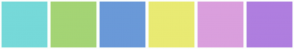 Color Scheme with #76D9D9 #A4D475 #6A99D8 #E9EA73 #DA9FDD #AF7EDF