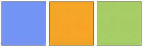 Color Scheme with #7595F4 #F4A427 #A8CE66