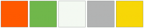 Color Scheme with #FF5900 #70B74B #F4F9F2 #B2B3B3 #F7D707