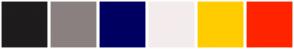 Color Scheme with #1E1C1C #8B8080 #000062 #F4ECEC #FFCC00 #FF2400