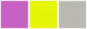 Color Scheme with #C562C2 #E6F405 #BAB9B4