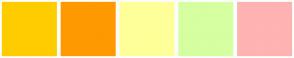 Color Scheme with #FFCC00 #FF9900 #FFFF99 #D5FFA1 #FFB3B3