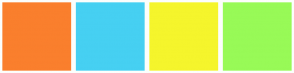 Color Scheme with #FA7F2D #46D0F2 #F5F52C #98FA57