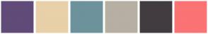 Color Scheme with #614B78 #E8D0A9 #6D929B #B7AFA3 #423C40 #FB7374