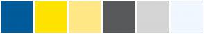 Color Scheme with #005B9A #FFE300 #FFE885 #58595B #D5D5D5 #F0F7FF