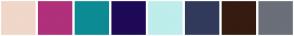 Color Scheme with #F0D7C9 #B0307B #0D8B94 #1E0A57 #BEEDEB #323A5C #361B11 #6A6F7A