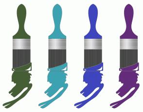 Color Scheme with #465E35 #3DA2B1 #3F45BD #642C7B
