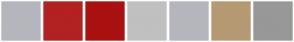 Color Scheme with #B5B6BD #B22222 #AA1111 #C0C0C0 #B5B6BD #B59A73 #989898