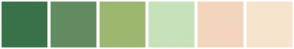 Color Scheme with #397249 #628B61 #9CB770 #C7E1BA #F3D5BD #F6E4CC