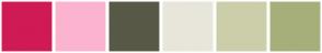 Color Scheme with #D01A55 #FCB3D0 #585947 #E8E6DA #CCCEA9 #A6AF7A