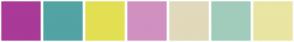 Color Scheme with #A93A97 #52A3A3 #E3DF53 #D091C0 #E1D9BB #A1CCBB #EAE5A2