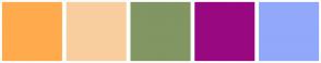 Color Scheme with #FFAB4D #F9CE9E #819663 #980881 #92A8FB