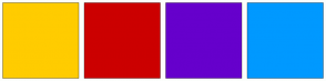 Color Scheme with #FFCC00 #CC0000 #6600CC #0099FF