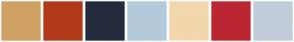 Color Scheme with #CFA263 #B13919 #242B3D #B3CADA #F3D8AD #BB2632 #706758 #A77C2D