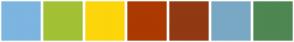 Color Scheme with #7CB5E0 #A2C135 #FCD60A #AC3900 #913913 #79A8C4 #4E8752