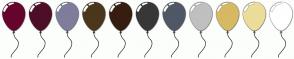 Color Scheme with #66042D #4D0F28 #7E7D9C #4B371C #371D10 #373737 #4F5864 #C0C0C0 #D7B963 #ECDD9A #FFFFFF