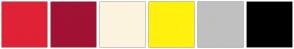 Color Scheme with #E02235 #A11235 #FCF3DE #FFF10D #C0C0C0 #000000