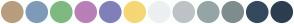 Color Scheme with #B89D7F #7F9AB8 #7FB981 #B97FB7 #817FB9 #F5D776 #ECF0F1 #BDC3C7 #95A5A6 #7F8C8D #34495E #2C3E50