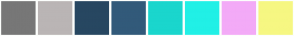 Color Scheme with #777777 #BAB5B5 #274761 #325A7A #1AD6CD #21F0E6 #F3AAF7 #F6F782