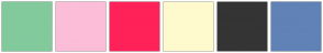 Color Scheme with #82CA9C #FCBDD8 #FF2259 #FFFACD #343434 #6082B6