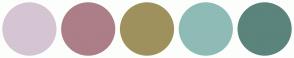 Color Scheme with #D5C5D2 #AC7E88 #9E915D #8FBBB6 #5B847C