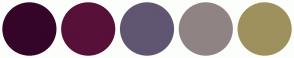 Color Scheme with #340529 #571038 #605671 #908383 #9E915D