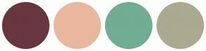 Color Scheme with #68363F #E9B79E #71AD91 #ABA990