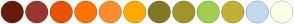 Color Scheme with #651B0C #96382E #E85200 #FF7302 #FF8B2D #FFA902 #827823 #A1942C #A0CE4E #C0B034 #C2D9EF #FFFFE8