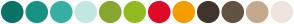 Color Scheme with #097366 #199286 #37AFA3 #C3E7E3 #88A730 #93BB21 #DD0C29 #F59C00 #40352C #625243 #C4A98E #EDE5DD