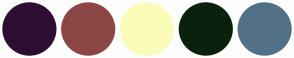 Color Scheme with #2D0E32 #8C4646 #FAFCB8 #0A210D #527186