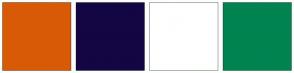 Color Scheme with #D95A06 #140642 #FFFFFF #018350