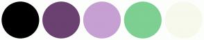 Color Scheme with #000000 #6A4170 #C6A0D2 #7DCF92 #F7F9ED