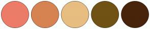 Color Scheme with #EC7C68 #D78251 #E8BD80 #705214 #48240B