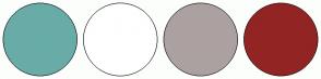 Color Scheme with #69ACA7 #FFFFFF #ACA1A1 #932424