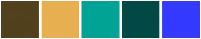 Color Scheme with #51411C #E8AF51 #00A395 #024946 #343AFF