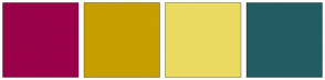 Color Scheme with #990049 #C79F00 #EBDB61 #235D63