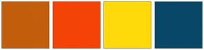Color Scheme with #C25E0C #F54307 #FFDA0A #094769