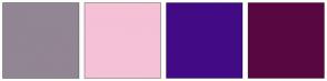 Color Scheme with #928594 #F5C1D6 #420B85 #590741