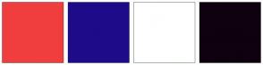 Color Scheme with #F03E3E #1E0B8A #FFFFFF #0F010F