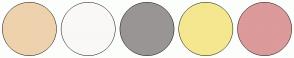 Color Scheme with #EED2AD #FAF7F7 #9A9595 #F4E78F #DC9A9A