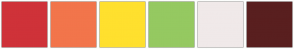 Color Scheme with #CF3239 #F2754B #FFE02E #95C961 #F0E9E9 #591F1F