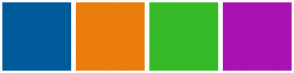Color Scheme with #005B9A #EB7C0E #37BA29 #AA12B3