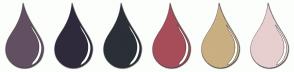 Color Scheme with #634F62 #2F2A3B #2A3036 #A74D5A #C9AF81 #E7CFCF