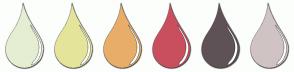 Color Scheme with #E5EED2 #E5E49B #E8AE69 #CA4F5E #5F5257 #D0C3C4