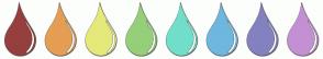 Color Scheme with #963F3F #E59E53 #E4E97A #95CF78 #71DECA #6EB7DE #8481C0 #C390D3