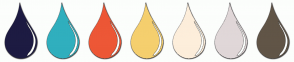 Color Scheme with #1D1B42 #30AFBE #ED5736 #F5CF6E #FDEEDB #E0D7D8 #615547